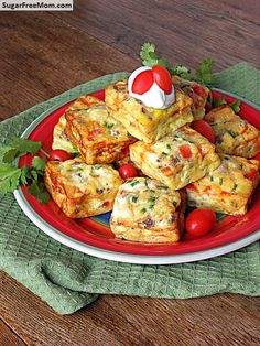 Mini Sante Fe Frittata's | sugarfreemom.com 8 ounces pork sausage 2 cups red & yellow diced sweet peppers 10 Eggland's Best eggs ½ cup milk, 1% ⅓ cup Eggland's 100% Liquid egg whites or 2 egg whites ½ teaspoon salt ¼ teaspoon pepper ½ cup pepper jack cheese optional: fresh chopped cilantro, green onions, salsa, sour cream