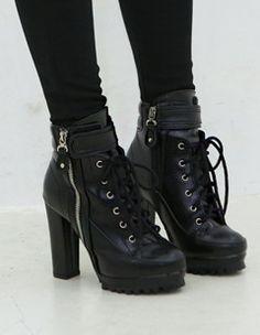 BLACK HEELED COMBAT BOOTS okay SECOND exception to heels
