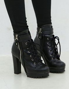 high heeled combat boots via Polyvore featuring shoes, boots ...