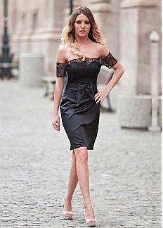 Glamorous Satin Off-The-Shoulder Neckline Sheath Cocktail  Dresses