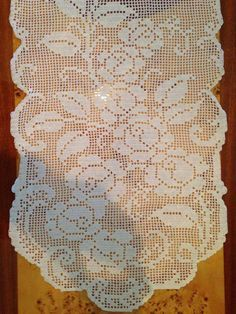Twig with roses Material: cotton crochet yarn Koral No.15 Needle crochet No.1 Size 120 x 40 cm Time of about ten da...
