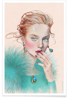 Kai Fine Art is an art website, shows painting and illustration works all over the world. Art And Illustration, Portrait Illustration, Fashion Sketchbook, Fashion Sketches, Fashion Illustrations, Poster Online, Portraits, Face Art, Fashion Art