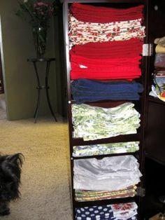 Organized cloth napkin hutch.
