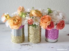A Bubbly Life: Upcycled Glitter Vase DIY  modge podge, used soup can, and glitter