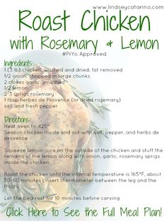 Check out this yummy Roast Chicken (with lemon and rosemary - mmm!) recipe from my PiYo mealplan! Head on over to this site to see the full mealplan #recipes #piyo http://lindseycatarino.com/piyo-meal-plan-week-2/