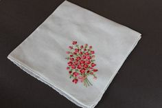 Handkerchief with Red Embroidered Flowers 17 by EBMNewhaven
