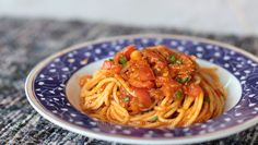 The flavors and texture of this pasta dish rely heavily on the chopped vegetables which need to cook slowly in olive oil with the herbs and spices. The tomatoes were intentionally cut larger than the other vegetables to contrast with the smoothness of the sauce.