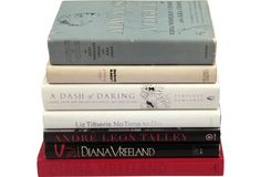 """Set of seven books (HC/DJ), one signed: No Time to Die 1st Ed., 1998, inscribed """"...with wishes, keep up the great work, Liz Tilberis."""" Always in Vogue Am. Ed., 1954, by Edna Woolman Chase. A Dash of Daring, Carmel Snow 1st Ed., 2005, by Penelope Rowlands. Lion's Share 1st Ed., 1970, by Ailsa Garland. D.V. 4th Pr., 1984, by Diana Vreeland. Diana Vreeland 1st Ed., 2002, by Eleanor Dwight. A.L.T.: A Memoir 1st Ed., 2003, by Andre Leon Talley."""
