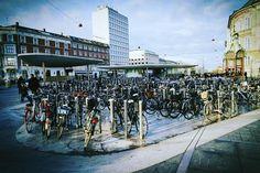 """Convenient bike parking in the heart of Copenhagen.   #cyclingembassyofdenmark #bikeparking #pedalpower #nørreport #københavn #denmark"""