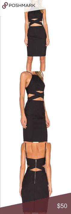 """🎉1DAY SALE Lovers + Friends Black Sexy Midi Dress Lovers + Friends Sexy Black Midi Dress. New with brand tag, no price tag as ordered online. Definite head turner, perfect LBD, just too tight on me. Caged waist cut out, exposed back zipper closure. Fully lined. Approx. 36"""" long. Armpit to armpit laying flat is approx. 14"""" across. Shell is 100% polyester. Lining is 97% polyester/3% elastane. Lovers + Friends Dresses Midi"""
