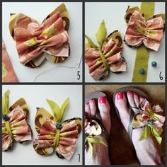 Fabric Butterfly Flip Flop Decorations