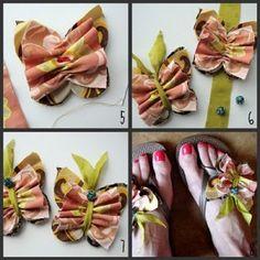 fabric butterflies, idea, butterfly craft flip flop, butterfli flip, flip flops decorated, flipflop, shoe, craft night, pocket full