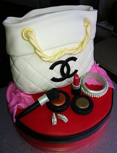 Jocelyn's Wedding Cakes and More....: Chanel Purse Cake/Designer Handbag and Mac make-up cake @GLOSSYBOX Canada