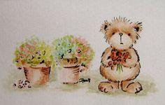 Flowerpot Bear - original watercolour by Teddy Bear Orphans