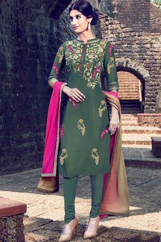 Buy gorgeous, Churidar cotton festival design, Dark Moss Green  embroidered garment now in shop. Andaaz Fashion brings latest designer ethnic wear collection in UK   http://www.andaazfashion.co.uk/salwar-kameez/churidar-suits/dark-moss-green-cotton-and-satin-churidar-suit-with-dupatta-dmv14159.html