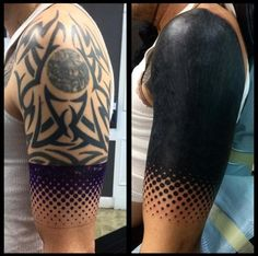 What does blackout tattoo mean? We have blackout tattoo ideas, designs, symbolism and we explain the meaning behind the tattoo. Tribal Tattoo Cover Up, Black Tattoo Cover Up, Solid Black Tattoo, Black White Tattoos, Cover Up Tattoos, White Ink, Blackout Tattoo, Tatuagem Trash Polka, Tattoo Geometrique