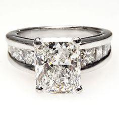 GIA 2 Carat Radiant Cut Diamond Engagement Ring Solid Platinum Estate Jewelry | eBay