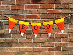 Halloween Banner Boo Burlap Banner by expressionsindesign, Halloween Banner, Halloween Boo, Holidays Halloween, Halloween Decorations, Halloween Ideas, Painting Burlap, Rustic Fall Decor, Colorful Candy, Fall Harvest