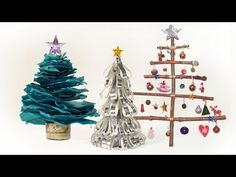 Making a Decent Christmas Tree Doesn't Have to Cost a Fortune    How to make 3 different Christmas trees. Make Christmas decorations out of paper, or sticks, These Xmas trees are a fun and beautiful way to help brighten up the house this Christmas. Fun and easy to make with children.