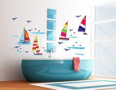 Sail Boat Ocean Kids Nursery Room Boys Girls Home Decor Wall Sticker Decal SM7030