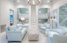 Gorgeous bunk room with a soft calming color scheme Credit to - Home Decor For Kids And Interior Design Ideas for Children, Toddler Room Ideas For Boys And Girls Ideas Decorar Habitacion, Bunk Bed Rooms, Bedrooms, Sleepover Room, Home Interior, Interior Design, Interior Ideas, Coastal Interior, Interior Trim