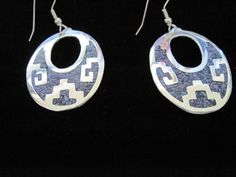 Silver Plated Abalone, Mexico, Oval Aztec Design Earrings Upstream Trading Co. #UpstreamTradingCompany