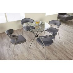 Euro Style Hydra 5 Piece Dining Set with Draco Chairs - Gray   from hayneedle.com