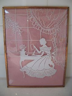RARE-Vtg-WHITE-Reverse-Painted-Convex-Glass-Silhouette-Framed-Picture