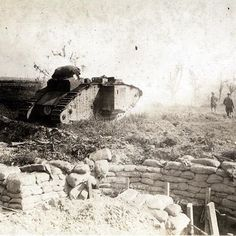 WW1, Somme, 1916; A modified British Mk I male supply tank with the purpose of…