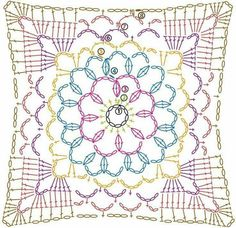 Transcendent Crochet a Solid Granny Square Ideas. Inconceivable Crochet a Solid Granny Square Ideas. Motif Mandala Crochet, Crochet Doily Diagram, Crochet Motif Patterns, Crochet Chart, Crochet Stitches, Crochet Doilies, Granny Square Crochet Pattern, Crochet Blocks, Crochet Squares