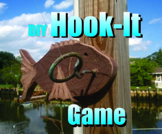 DIY Ring On A String Hook It Game. Add a Fish sculpture to any Ring on a String Hook it game for that Nautical look. Easy DIY How to make project. To get the ring onto the hook is not quite as easy as it looks and takes a little skill and a lot of practice. http://www.diyeasycrafts.com/