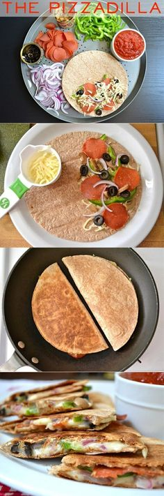 "Let me introduce you ""healthy girl's"" awesome recipe: The Pizzadilla! Here is how to make it..."