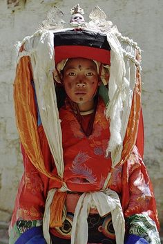 Cham (sacred dance) Dancer, Tibet, photo by Leonid Plotkin Costume Tribal, Folk Costume, Costumes, We Are The World, People Around The World, Costume Ethnique, Steve Mccurry, Cultural Diversity, World Of Color