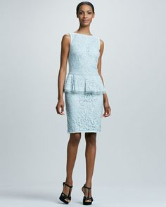 """Lace Peplum Cocktail Dress by Tadashi Shoji at Neiman Marcus. ~ Utterly LOVE ( like there is anything I do not ), but sadly too small for me   :""""(    :""""(    :""""("""