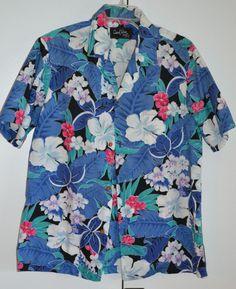 Men's L Hawaiian Shirt Made in Hawaii by Casual Wear Hawaii Blue & white floral #CasualWearHawaii #Hawaiian http://cgi.ebay.com/ws/eBayISAPI.dll?ViewItem&item=131241774123&ssPageName=STRK:MESE:IT