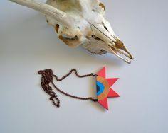 Yuchi Tribal Aztec Color Block Geometric Necklace by foudreblanche, $16.00