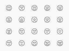 Modern Line Icons Design - Face & Emotion Icons by .C-Du Studio