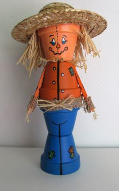 Hand-Painted Clay Pot Scarecrow Shelf-sitter Figurine by BrenDecor