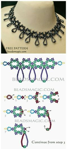 Free pattern for beaded necklace Nova U need: czech faceted crystal beads 6 mm seed Diy Necklace Patterns, Beaded Jewelry Patterns, Beading Patterns, Bracelet Crafts, Jewelry Crafts, Handmade Jewelry, Beaded Bracelets, Beaded Ornament Covers, Beaded Crafts