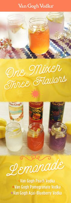 Create three delicious spring or summer cocktails with just one lemonade mixer and three flavors of Van Gogh Vodka.