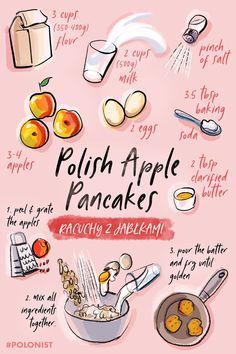 Easy to recipe in the illustration recipe for rachuchy polish apple pancakes! polonist polishrecipes dessert pancake apple 40 easy still life painting ideas for beginners Oreo Bars, Food Illustrations, Dessert Illustration, Tastemade Dessert, Pork Recipes, Cooking Recipes, Cabbage Recipes, Broccoli Recipes, Sweets
