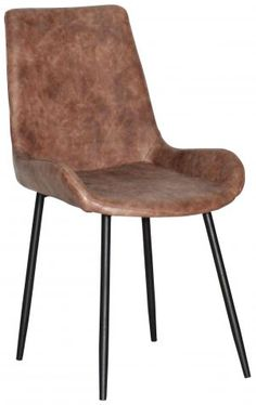 Block & Chisel brown faux leather dining chair with black polyurethane metal legs