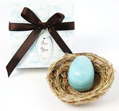 These egg soap baby shower favors are not only adorable, but practical as well. Each favor includes a lightly scented egg shaped soap resting on a bird's nest and beautifully presented in an elegant gift box. Bird Theme Parties, Bird Party, Party Themes, Party Ideas, Pure Soap, Blue Eggs, Soap Favors, Housewarming Party, Egg Shape