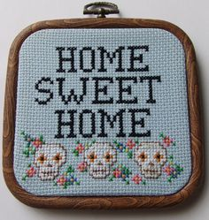 Home Sweet Home Sampler with Mexican Sugar Skulls Hand Sewn in Cross Stitch