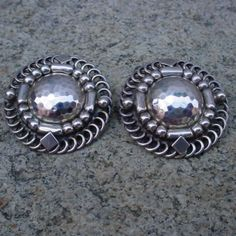 Georg Jensen Earrings 85 Clip On Sterling Silver Condition Fine Vintage Preowned Year After 1945 Size 1 8 In Diam