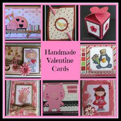 Handmade Valentine Cards - Here are ideas for Handmade Valentines ranging from beginner to intermediate skill level. Pam uses stamps, the Cricut, and lots of other fun supplies to create unique Valentines.