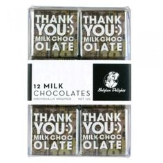 A bulk box of 8 packs of Napolitain Boxes Thank You Milk Chocolate. Each pack contains 12 squares.