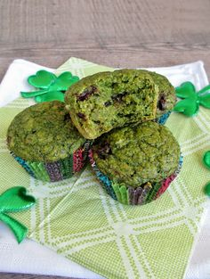 Green Spinach Banana Muffins for St. Patrick's Day