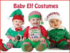 These Baby Elf Costumes are perfect for Santa's little helper! http://halloweenideasforwomen.com/christmas-elf-costume/