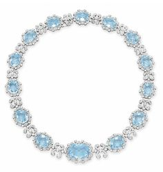 A BLUE TOPAZ AND DIAMOND NECKLACE   Designed as a graduated series of oval-shaped rose-cut blue topaz, each within a circular-cut diamond scalloped surround, spaced by circular-cut diamond links of similar design, mounted in white gold, 14½ ins.